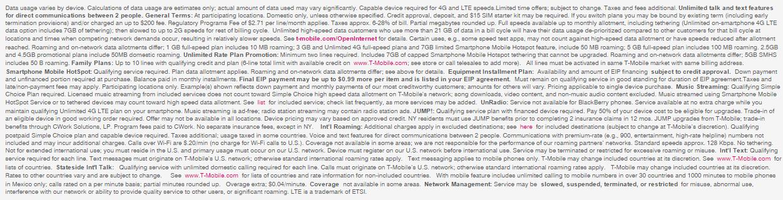 T-Mobile fine print