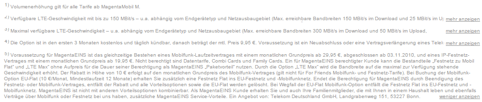 Telekom fine print